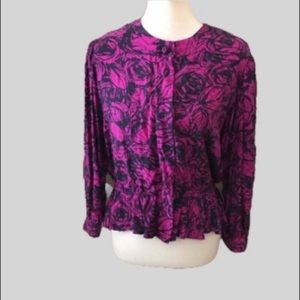 Vintage Maggy London Navy & Purple Silk Blouse